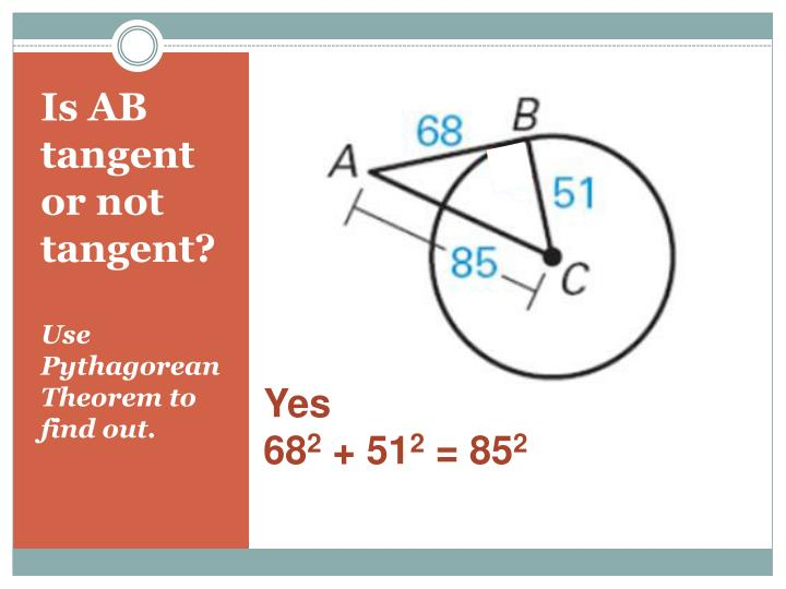 Is AB tangent or not tangent?
