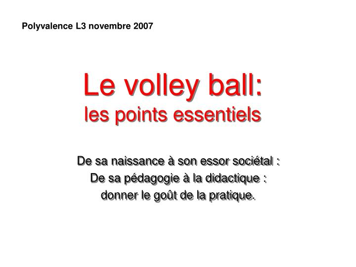 le volley ball les points essentiels n.