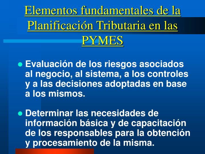 Elementos fundamentales de la Planificación Tributaria en las PYMES