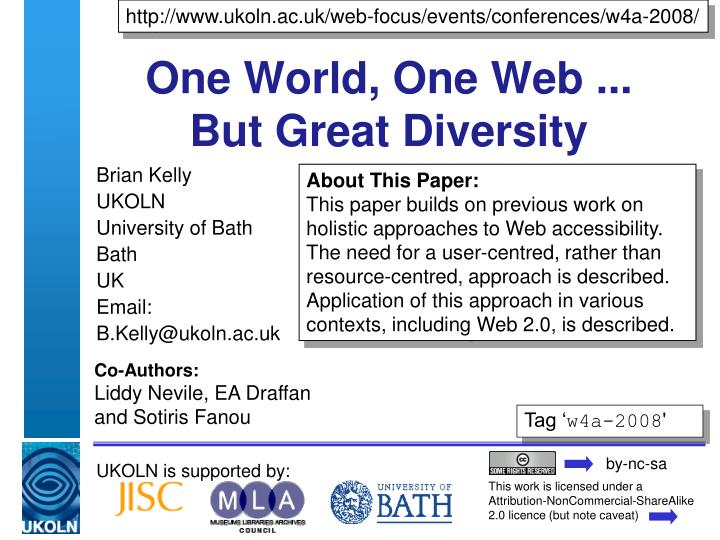 One world one web but great diversity