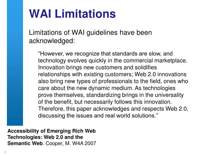 WAI Limitations