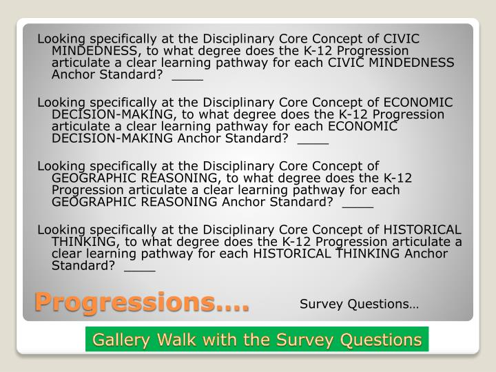 Looking specifically at the Disciplinary Core Concept of CIVIC MINDEDNESS, to what degree does the K-12 Progression articulate a clear learning pathway for each CIVIC MINDEDNESS Anchor Standard?  ____