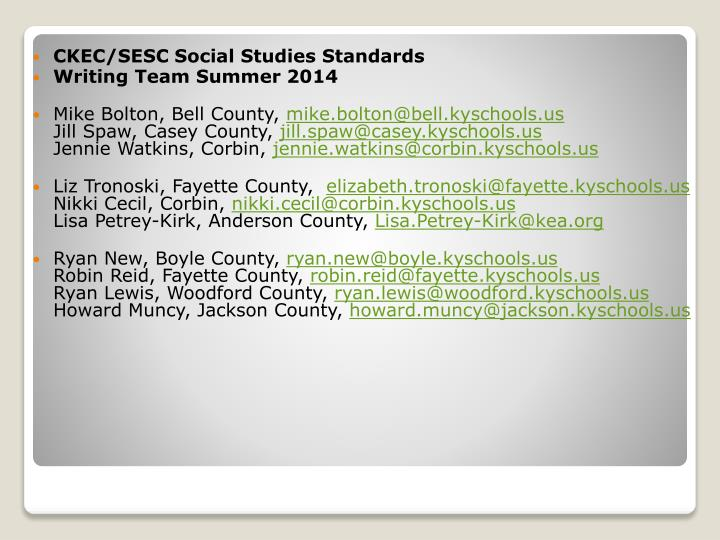 CKEC/SESC Social Studies Standards