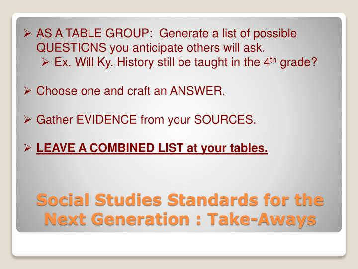 AS A TABLE GROUP:  Generate a list of possible QUESTIONS you anticipate others will ask.