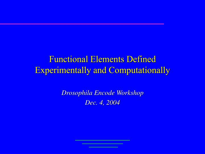 functional elements defined experimentally and computationally n.