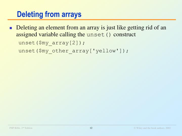 Deleting from arrays