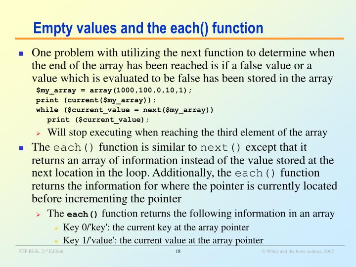 Empty values and the each() function