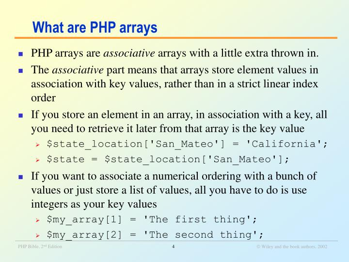 What are PHP arrays