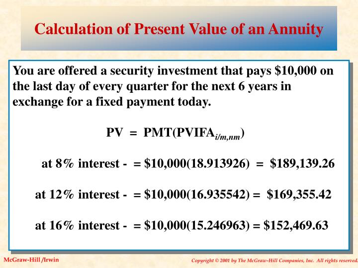 Calculation of Present Value of an Annuity
