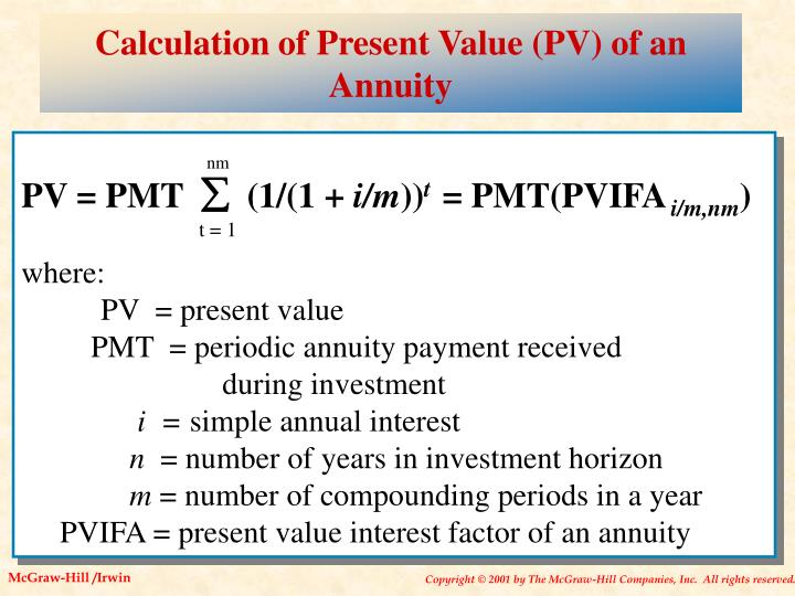 Calculation of Present Value (PV) of an Annuity