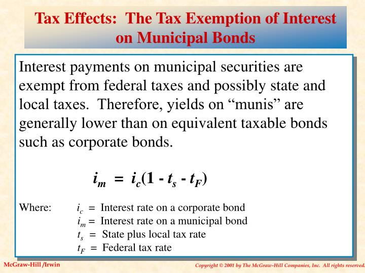 Tax Effects:  The Tax Exemption of Interest on Municipal Bonds
