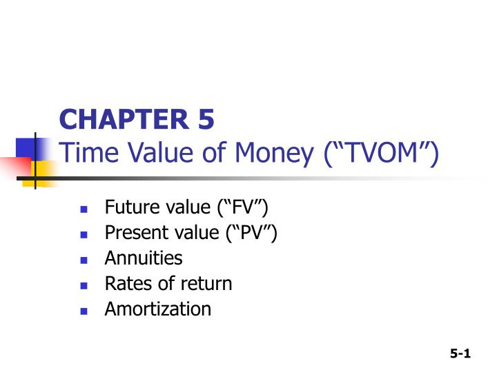 chapter 5 time value of money tvom n.