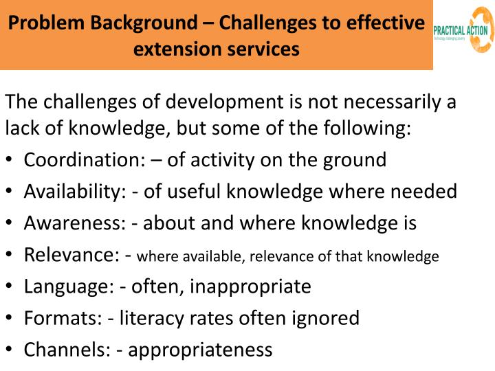 Problem Background – Challenges to effective extension services