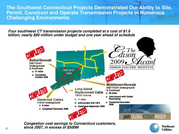 The Southwest Connecticut Projects Demonstrated Our Ability to Site, Permit, Construct and Operate Transmission Projects in Numerous Challenging Environments