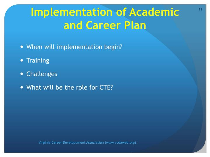 Implementation of Academic and Career Plan