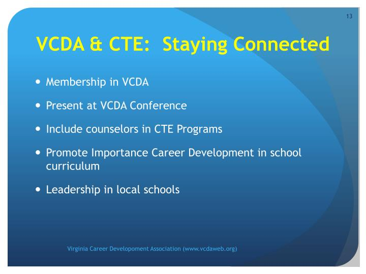 VCDA & CTE:  Staying Connected