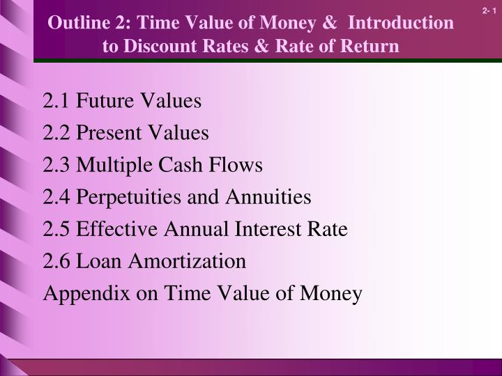 outline 2 time value of money introduction to discount rates rate of return n.