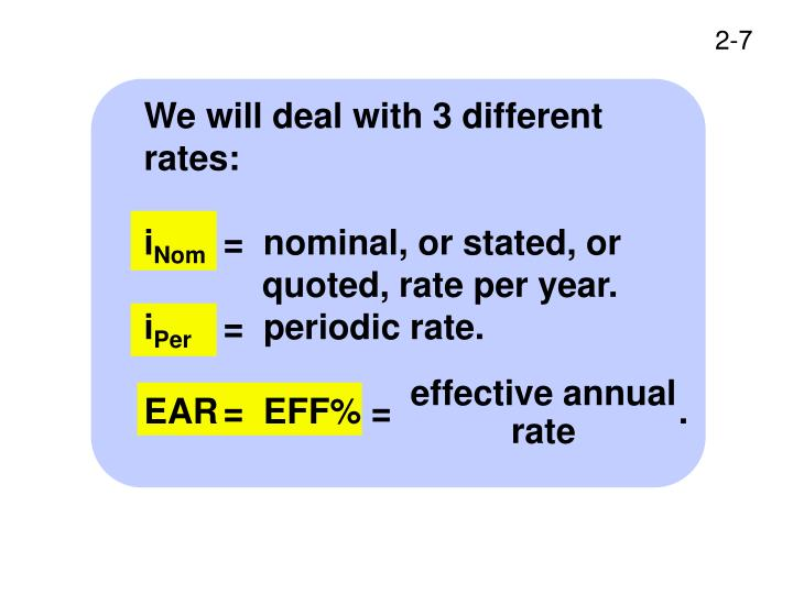 We will deal with 3 different rates: