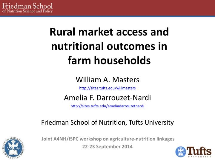 rural market access and nutritional outcomes in farm households n.