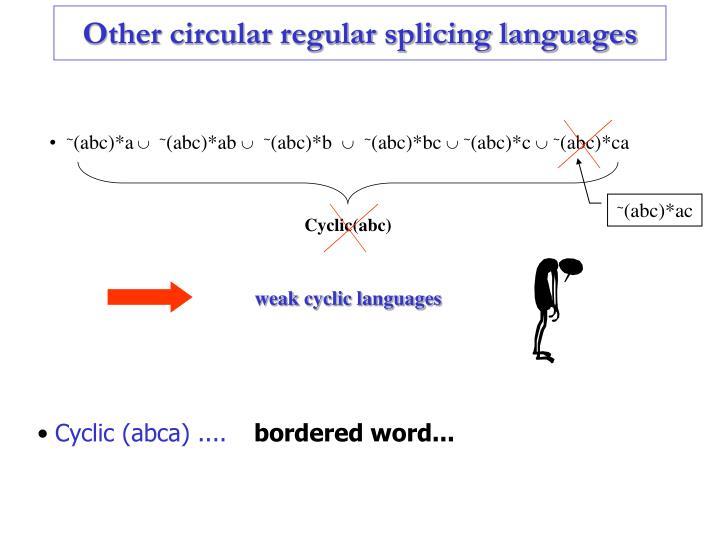 Other circular regular splicing languages