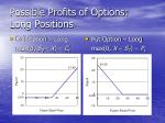 possible profits of options long positions