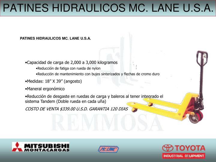 PATINES HIDRAULICOS MC. LANE U.S.A.