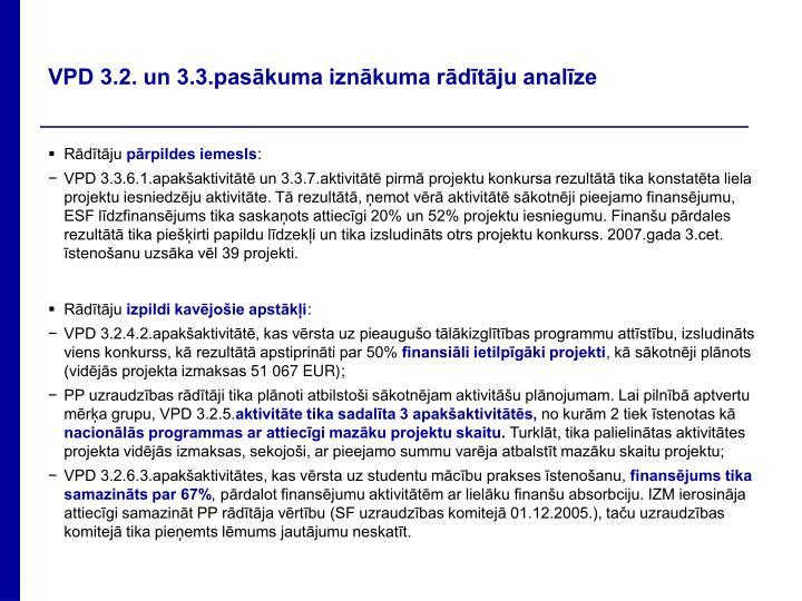 VPD 3.2. un 3.3.pasākuma iznākuma rādītāju analīze