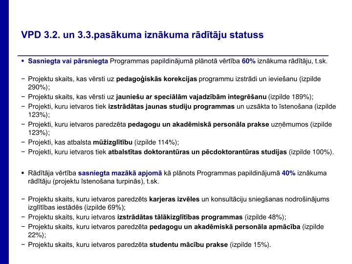 VPD 3.2. un 3.3.pasākuma iznākuma rādītāju statuss