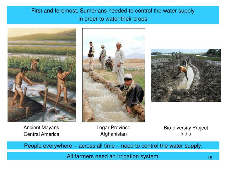 First and foremost, Sumerians needed to control the water supply