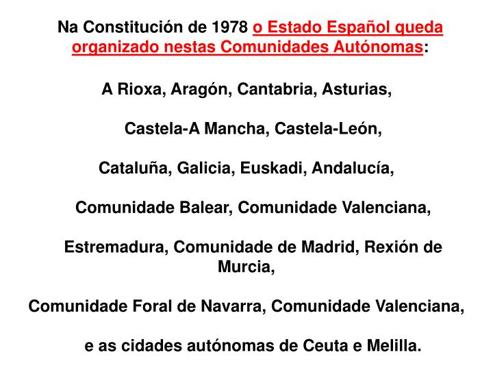 Na Constitución de 1978