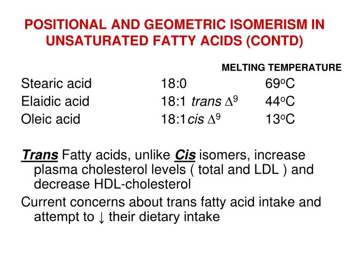 POSITIONAL AND GEOMETRIC ISOMERISM IN UNSATURATED FATTY ACIDS (CONTD)