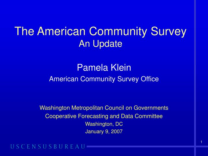 the american community survey an update n.