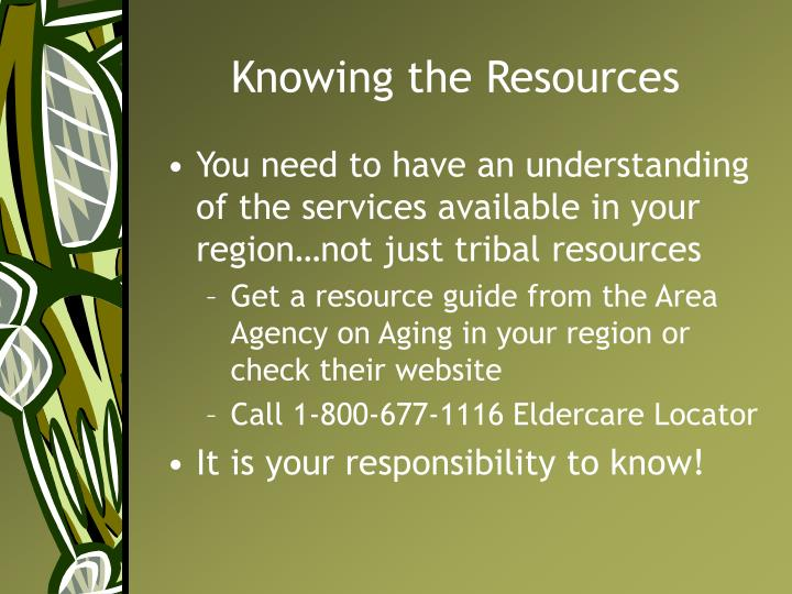 Knowing the Resources