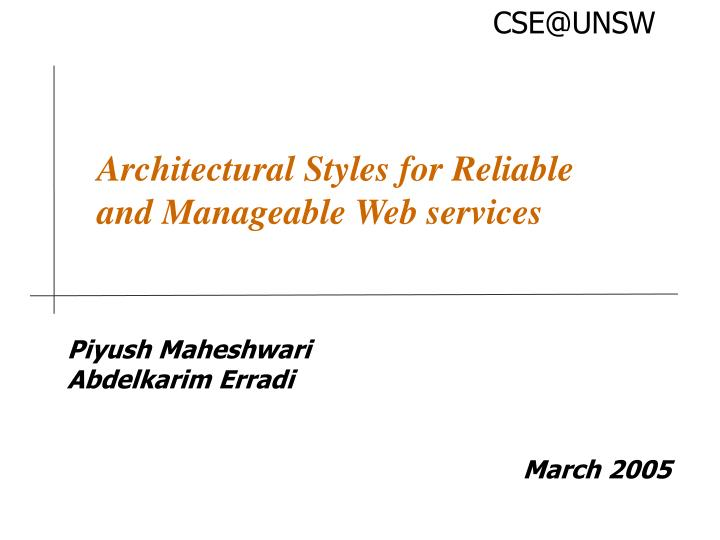 architectural styles for reliable and manageable web services n.