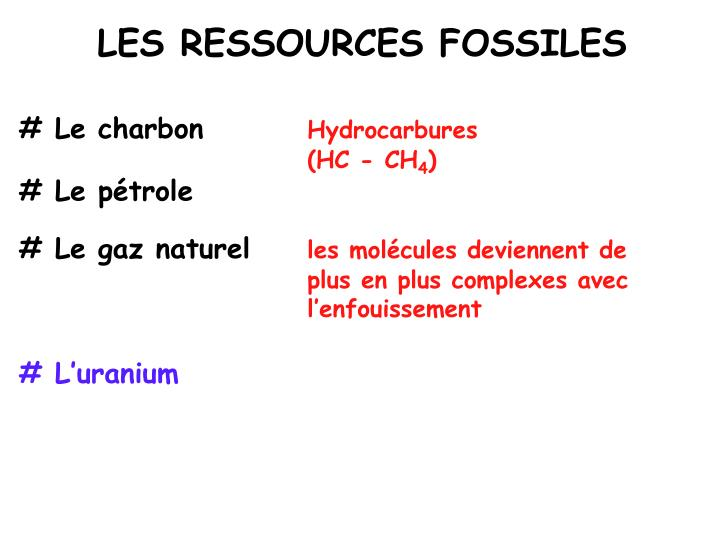 LES RESSOURCES FOSSILES