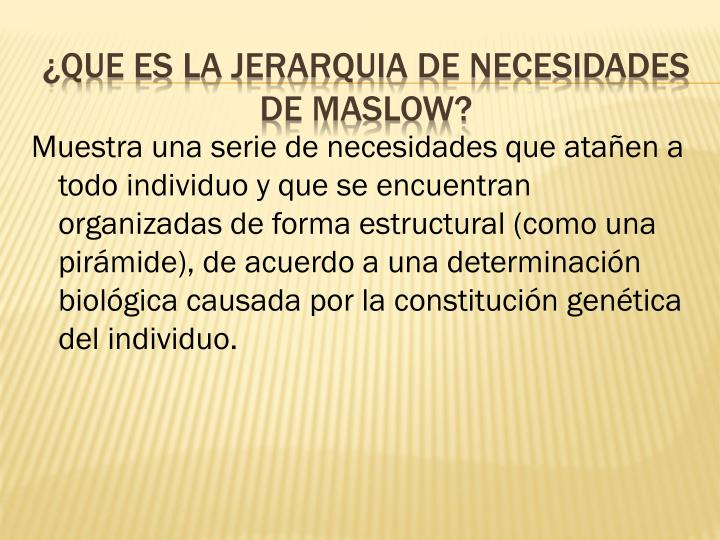 Que es la jerarquia de necesidades de maslow