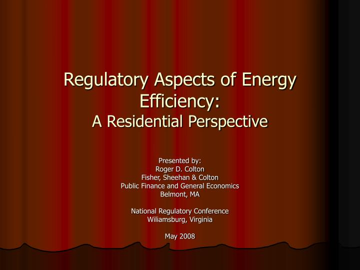 regulatory aspects of energy efficiency a residential perspective n.