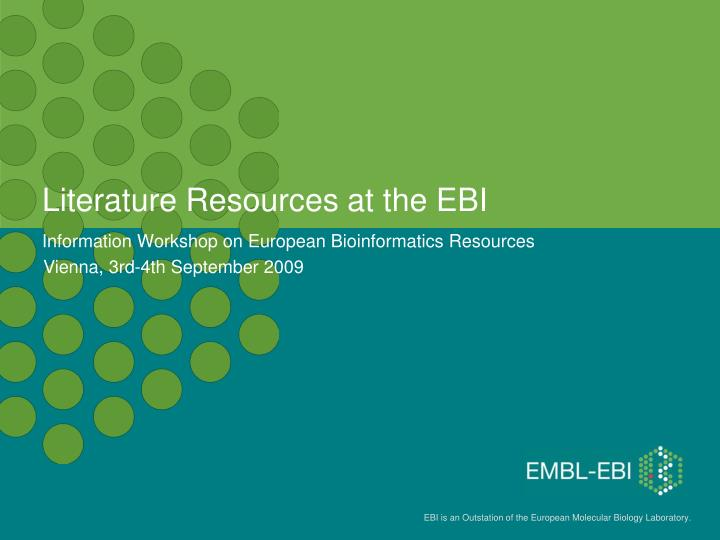literature resources at the ebi n.