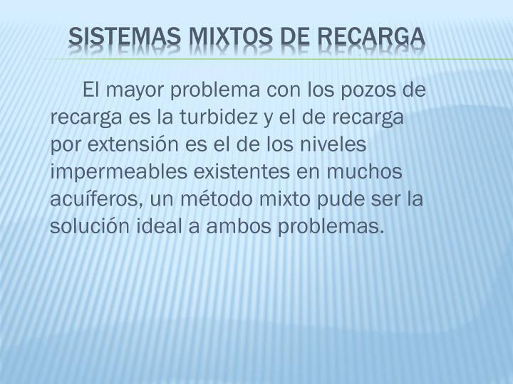 El mayor problema con los pozos de recarga es la turbidez y el de recarga por extensión es el de los niveles impermeables existentes en muchos acuíferos, un método mixto pude ser la solución ideal a ambos problemas.