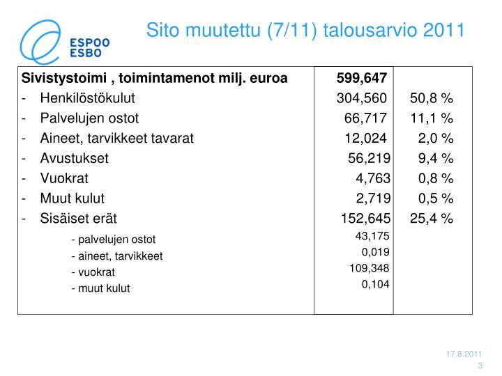 Sito muutettu 7 11 talousarvio 2011