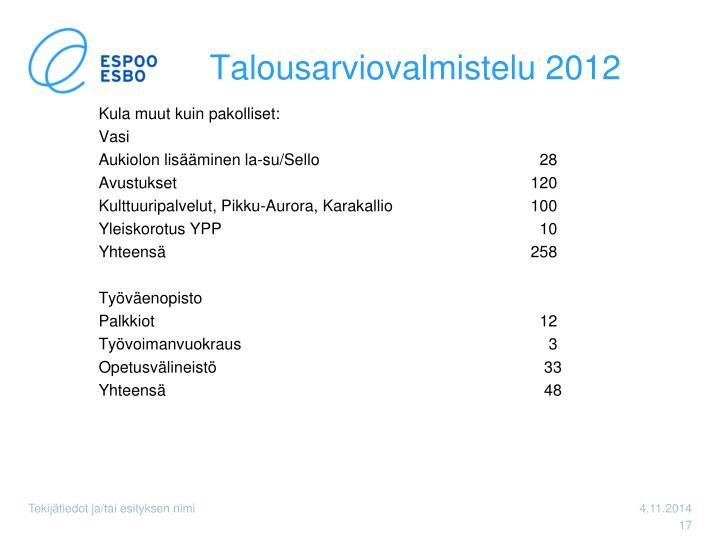 Talousarviovalmistelu 2012