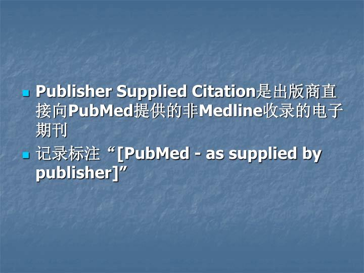 Publisher Supplied Citation