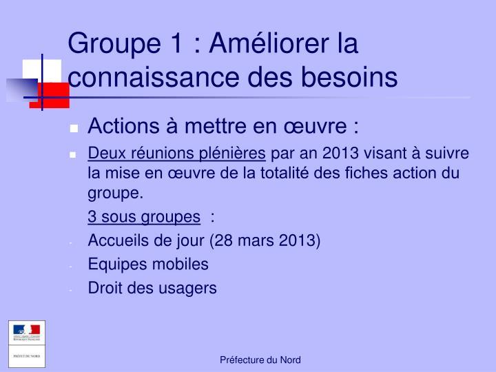 Groupe 1: Améliorer la connaissance des besoins