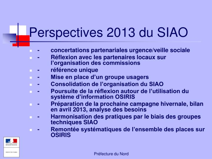 Perspectives 2013 du SIAO