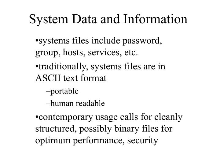 system data and information n.