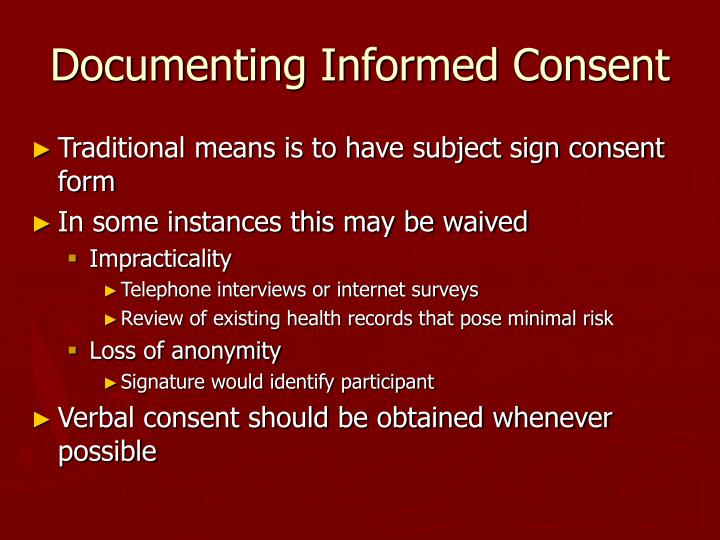 Documenting Informed Consent