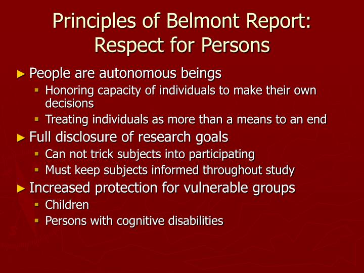 Principles of Belmont Report:  Respect for Persons