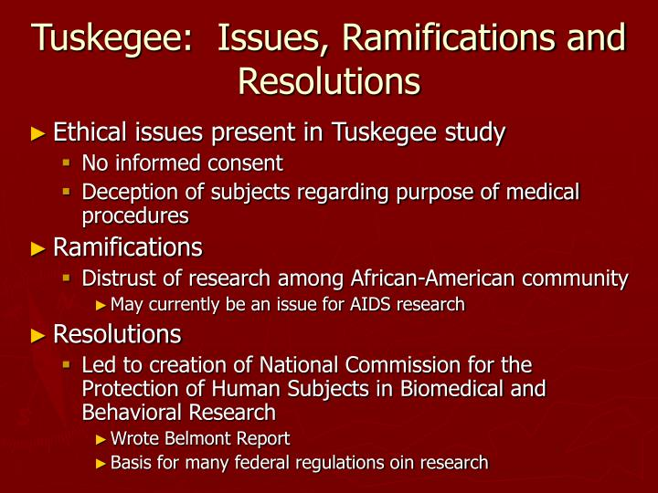 Tuskegee:  Issues, Ramifications and Resolutions