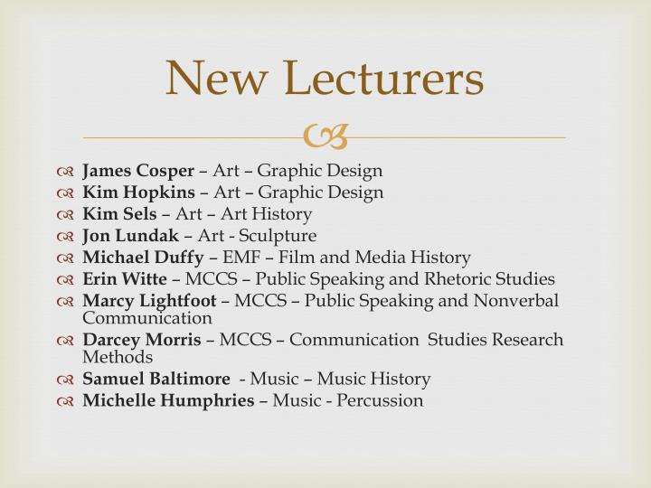 New Lecturers