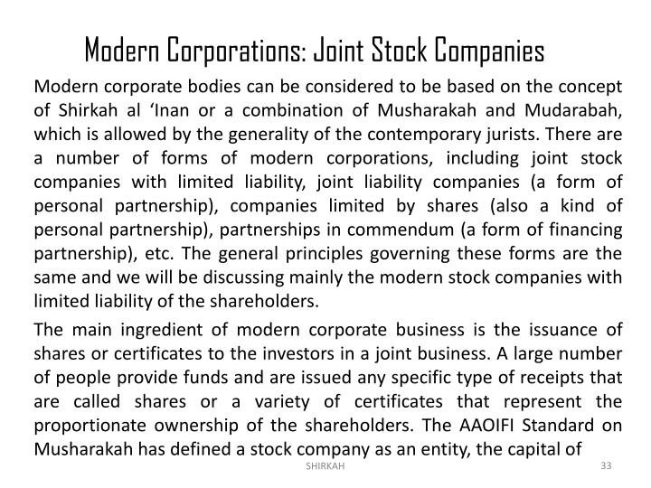 Modern Corporations: Joint Stock Companies